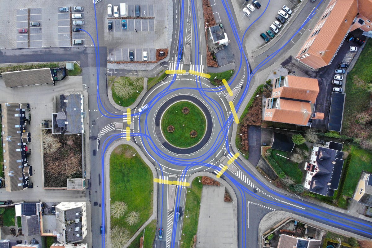 Roundabout aerial drone image analysis