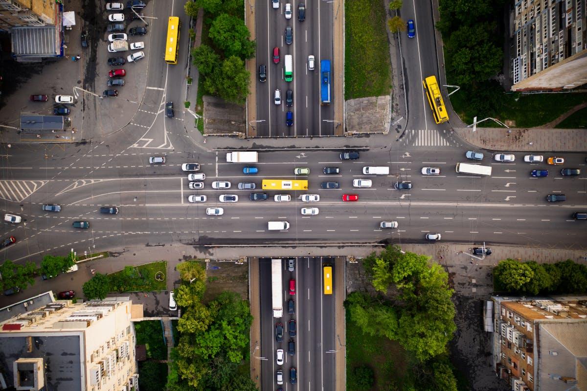 Highway traffic jam drone aerial image