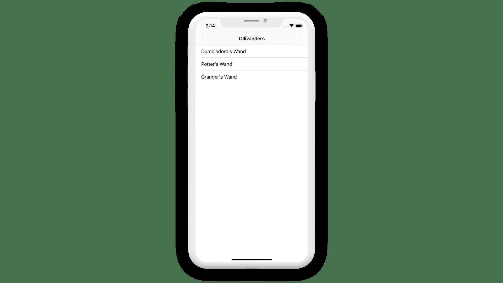 Ollivanders UI Mockup