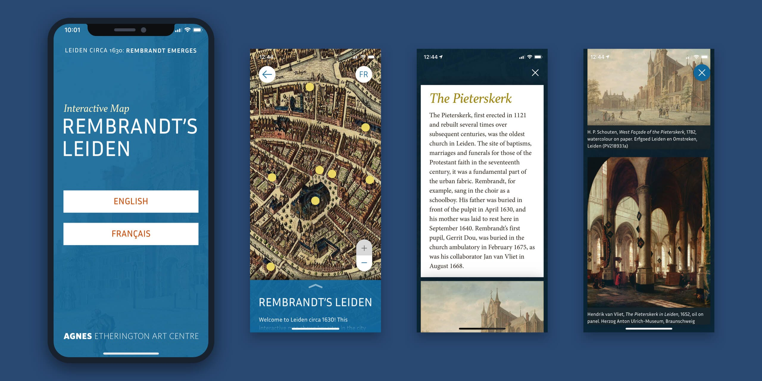 A mockup of an iPhone screen displaying the design for the responsive web app Rembrandt's Leiden.