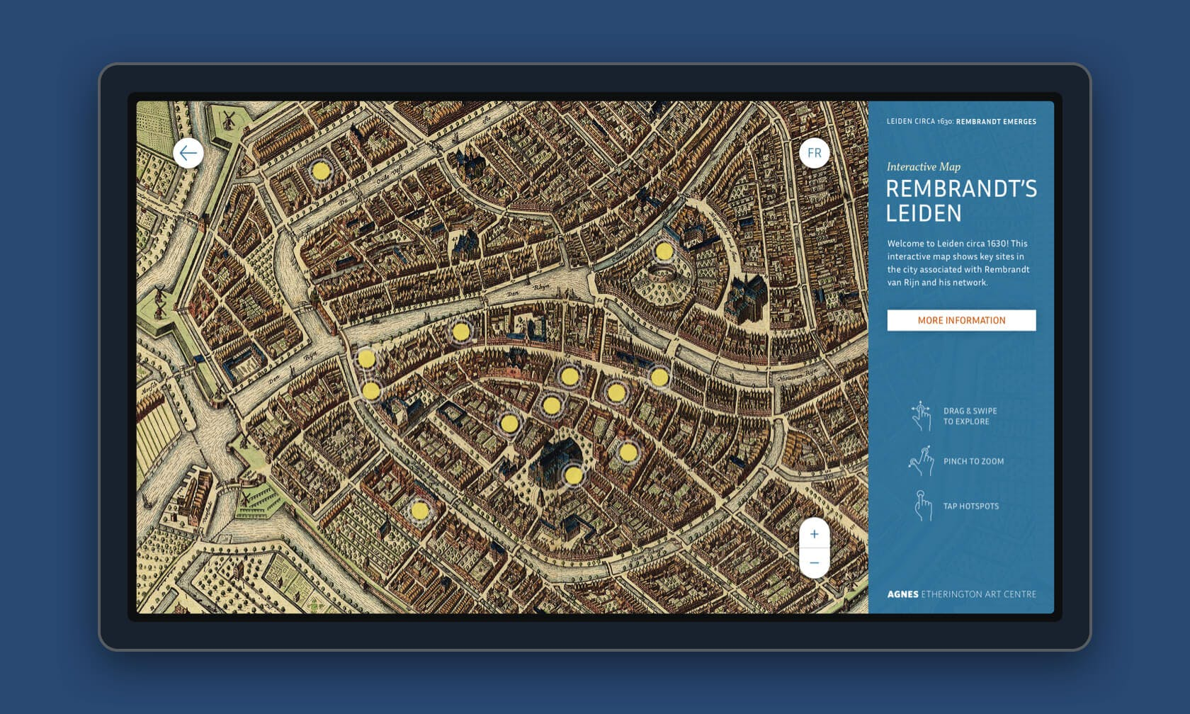 A screen displaying the design for the interactive map Rembrandt's Leiden, optimized for display on the 30-inch touchscreen used in-gallery at the Agnes Etherington Art Centre.
