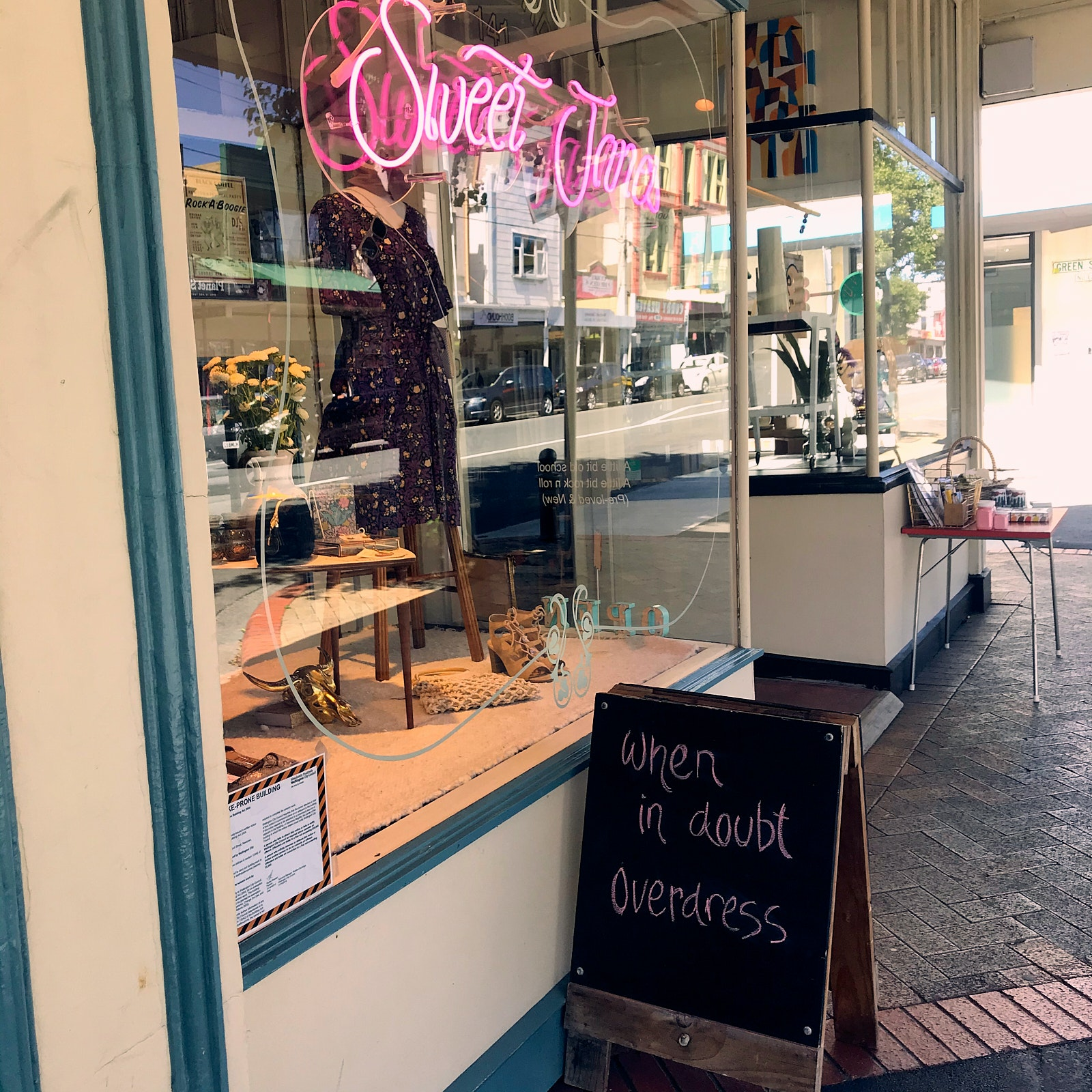 A shop window and a chalk board
