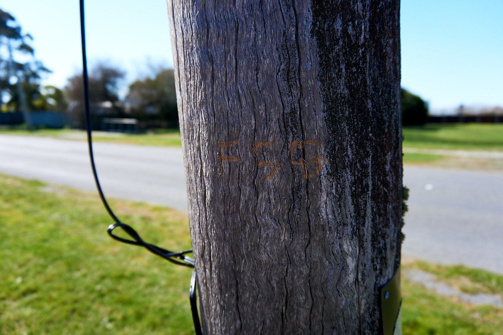Initals carved into a lamppost