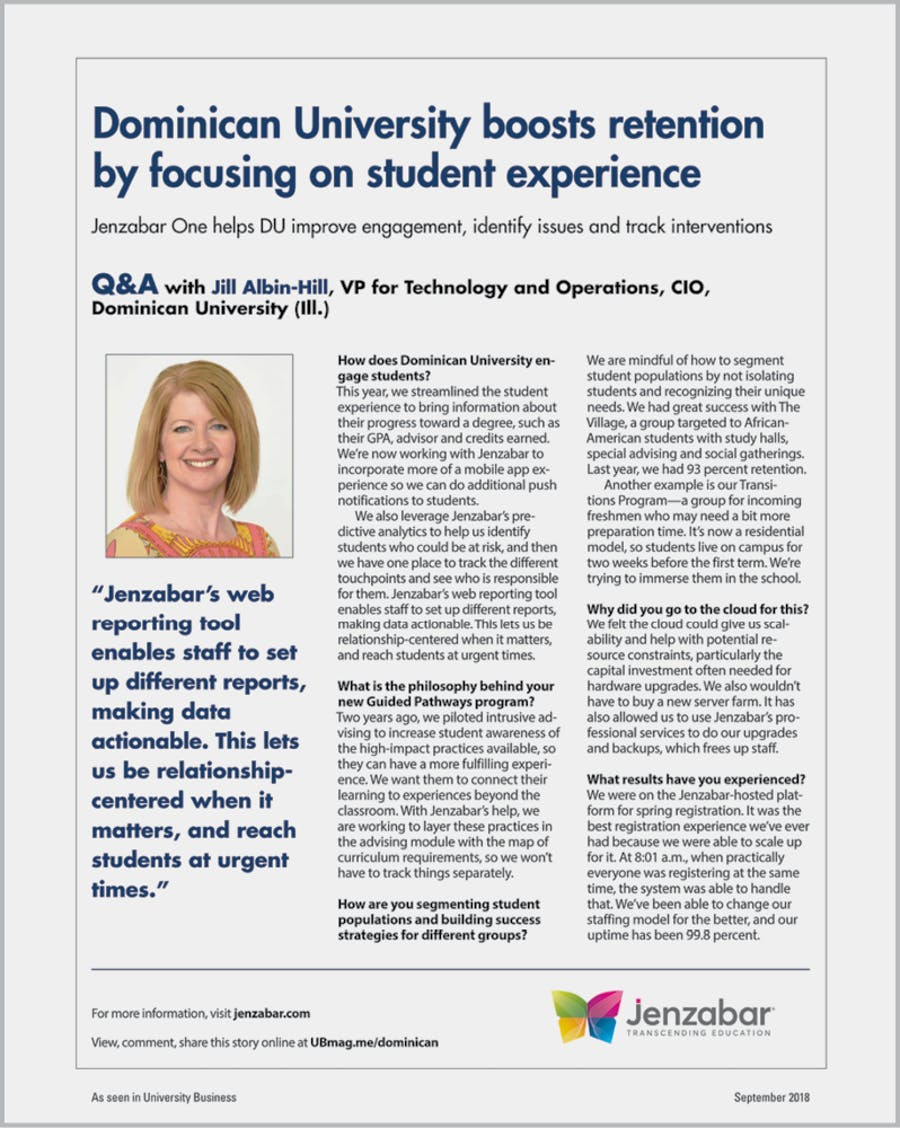 Dominican University boosts retention by focusing on student experience