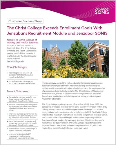 The Christ College Exceeds Enrollment Goals With Jenzabar's Recruitment Module and Jenzabar SONIS
