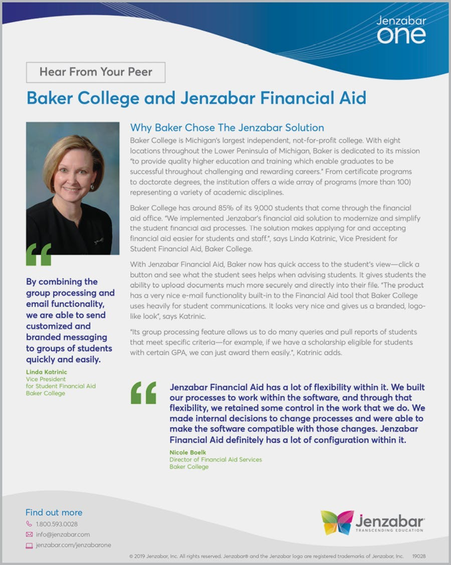 Baker College and Jenzabar Financial Aid