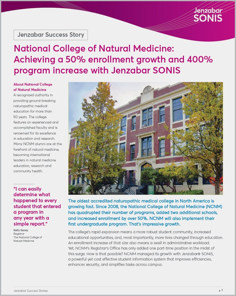 National College of Natural Medicine: Achieving a 50% enrollment growth and 400% program increase with Jenzabar SONIS