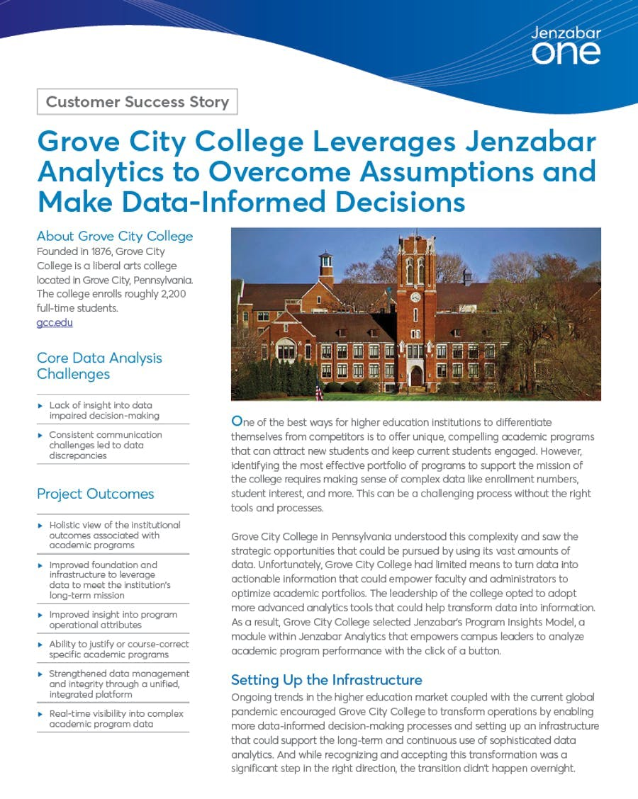 Grove City College Leverages Jenzabar Analytics to Overcome Assumptions and Make Data-Informed Decisions