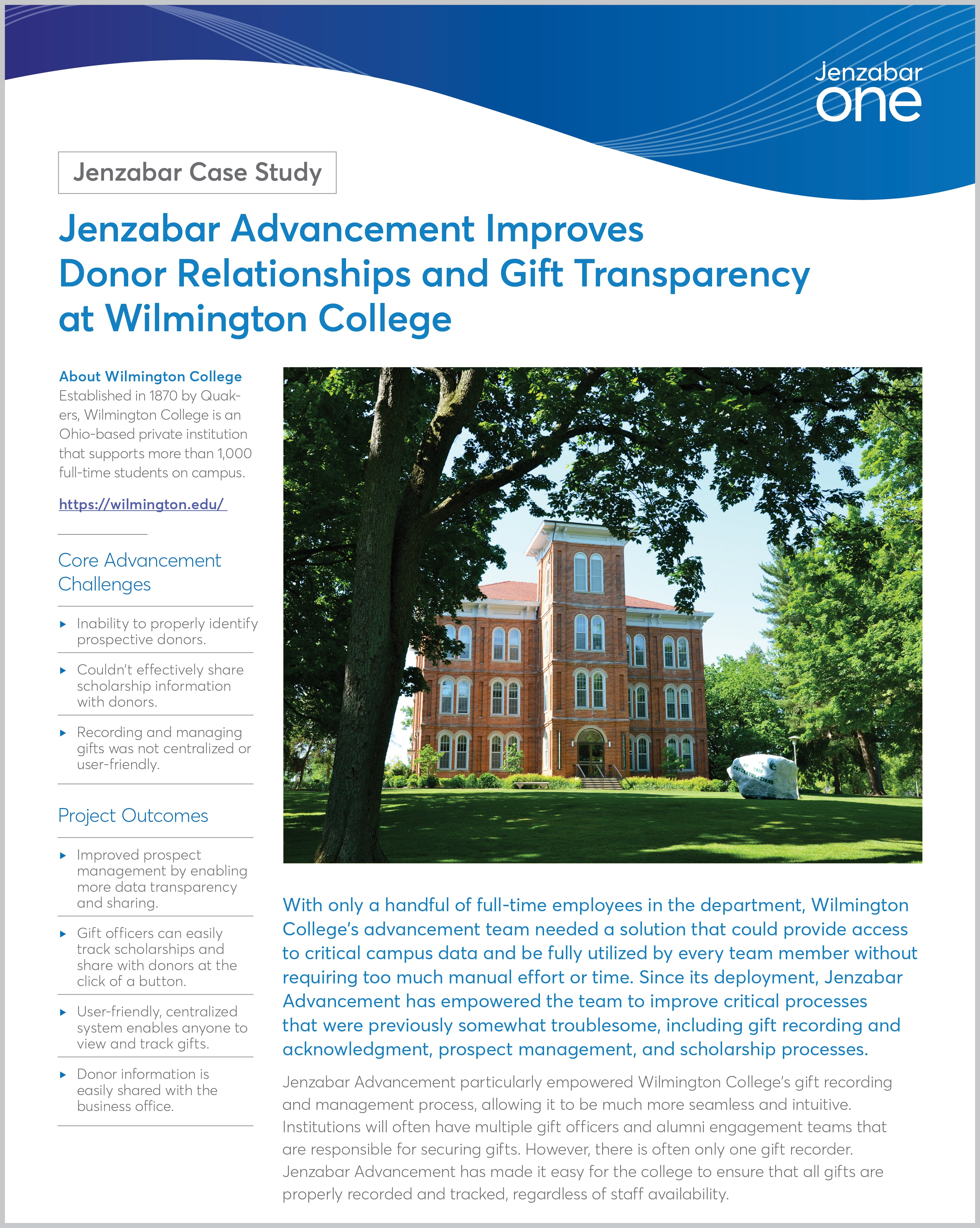 Jenzabar Advancement Improves Donor Relationships and Gift Transparency at Wilmington College