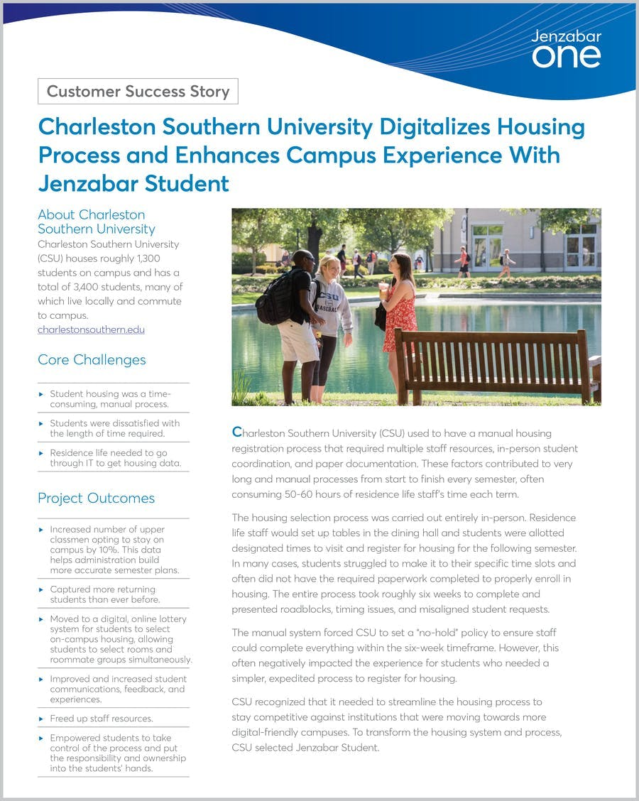 Charleston Southern University Digitalizes Housing Process and Enhances Campus Experience With Jenzabar Student