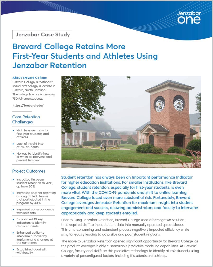 Brevard College Retains More First-Year Students and Athletes Using Jenzabar Retention