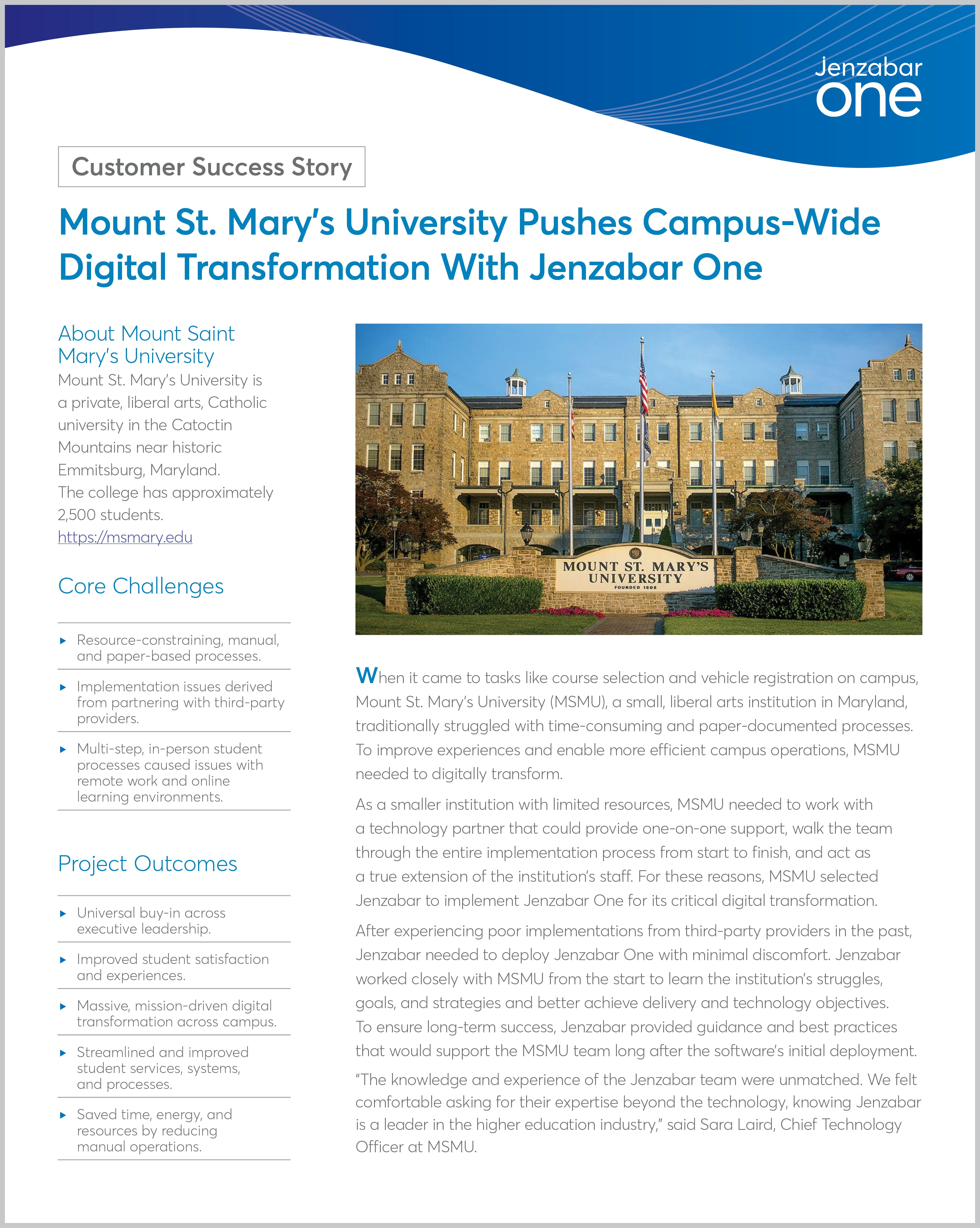Mount St. Mary's University Pushes Campus-Wide Digital Transformation With Jenzabar One