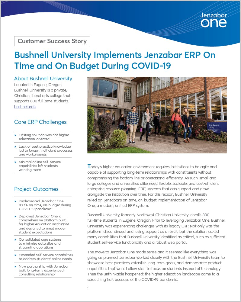 Bushnell University Implements Jenzabar ERP On Time and On Budget During COVID-19