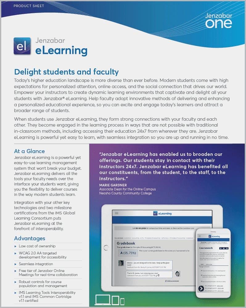 Product Sheet: Jenzabar eLearning