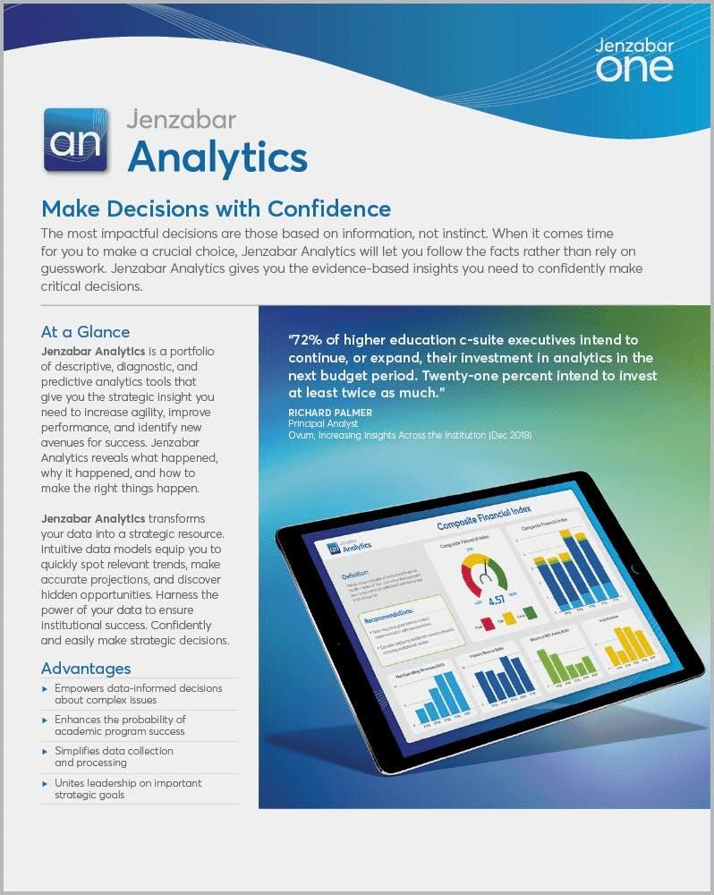 Product Sheet: Jenzabar Analytics