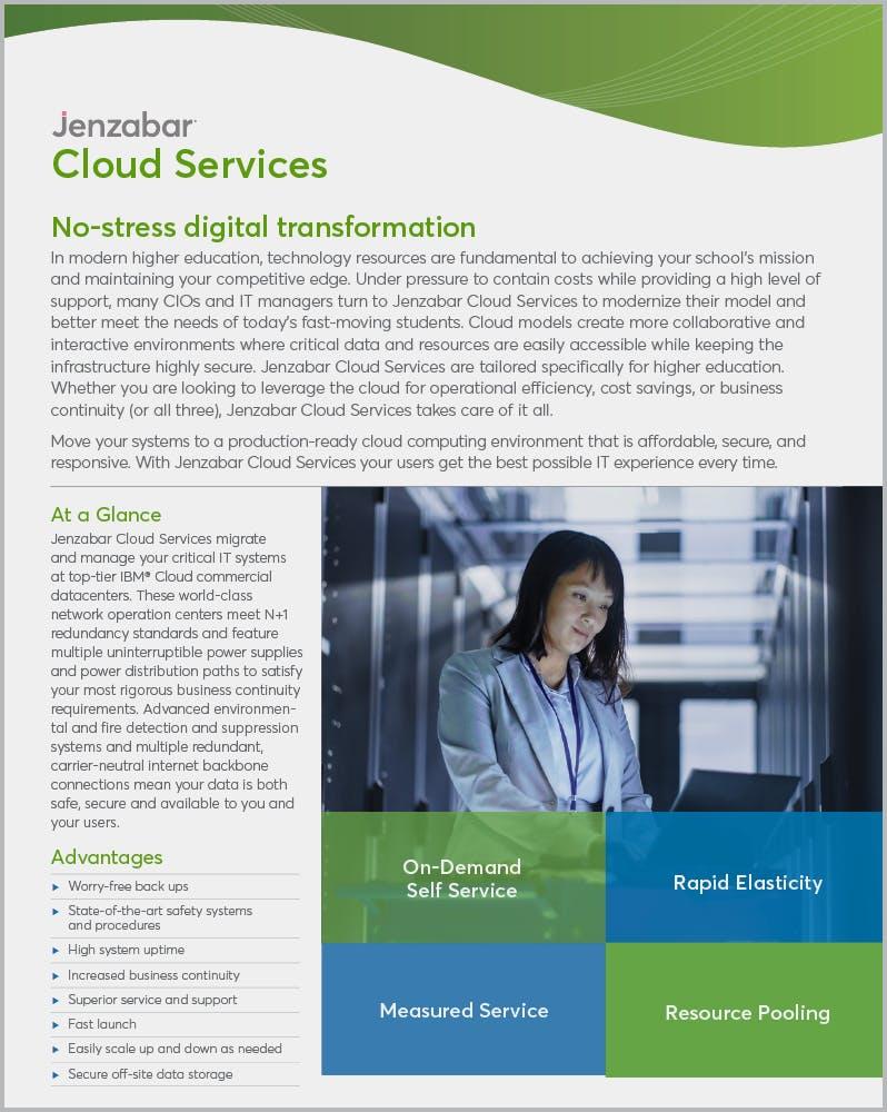 Product Sheet: Jenzabar Cloud Services