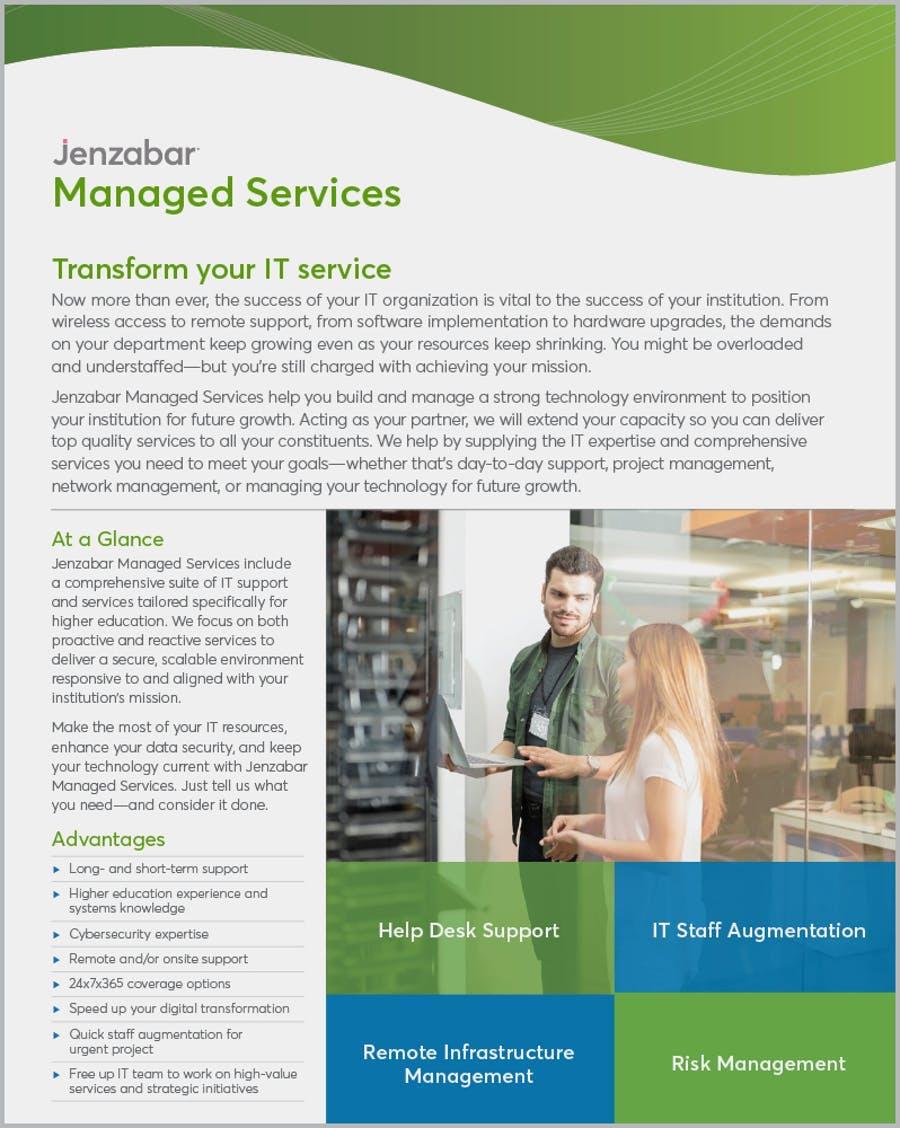 Product Sheet: Jenzabar Managed Services