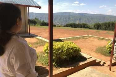 CEO Ling Chai Maginn visits the building site for a school in Kasese, Uganda