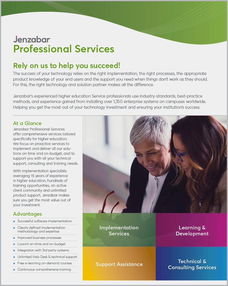 Product Sheet: Jenzabar Professional Services