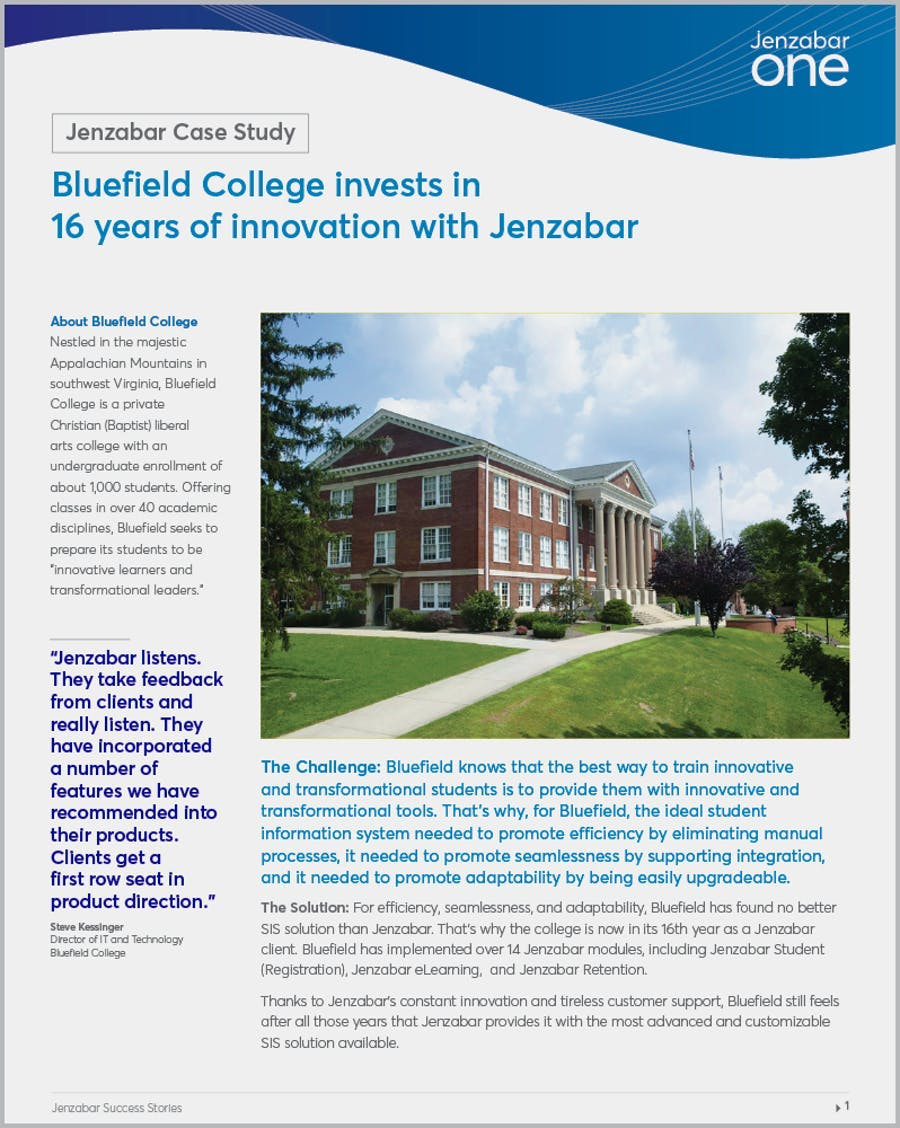 Bluefield College invests in 16 years of innovation with Jenzabar