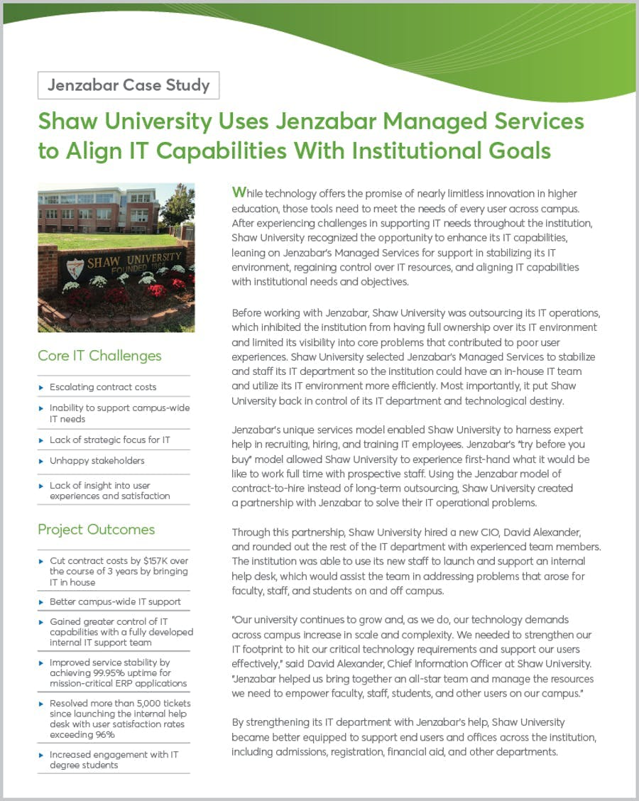 Shaw University Uses Jenzabar Managed Services to Align IT Capabilities With Institutional Goals