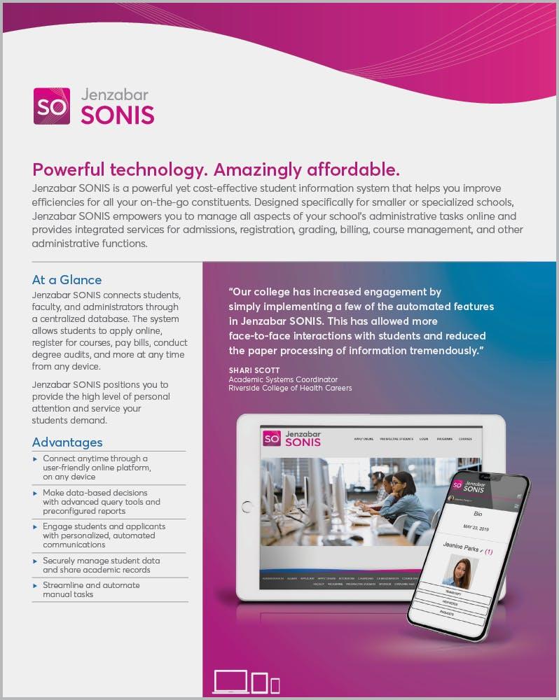Product Sheet: Jenzabar SONIS