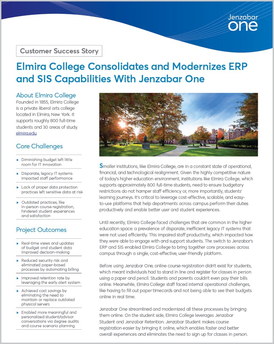Elmira College Consolidates and Modernizes ERP and SIS Capabilities With Jenzabar One