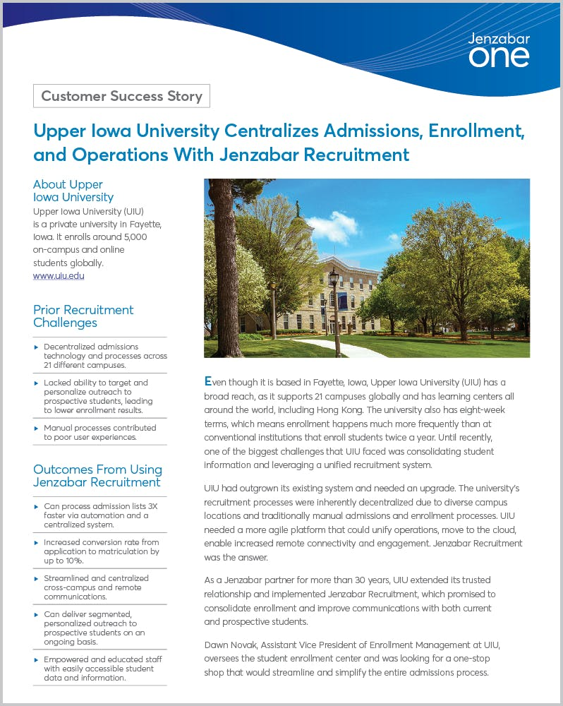 Upper Iowa University Centralizes Admissions, Enrollment, and Operations With Jenzabar Recruitment