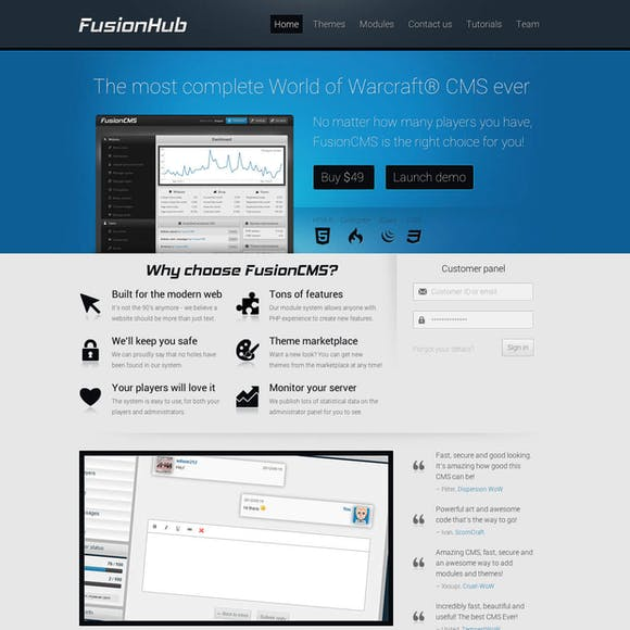 Landing page / FusionCMS