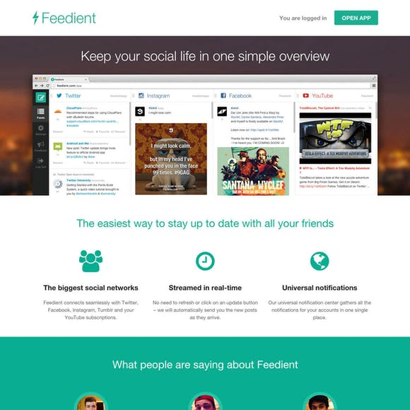 Landing page / Feedient