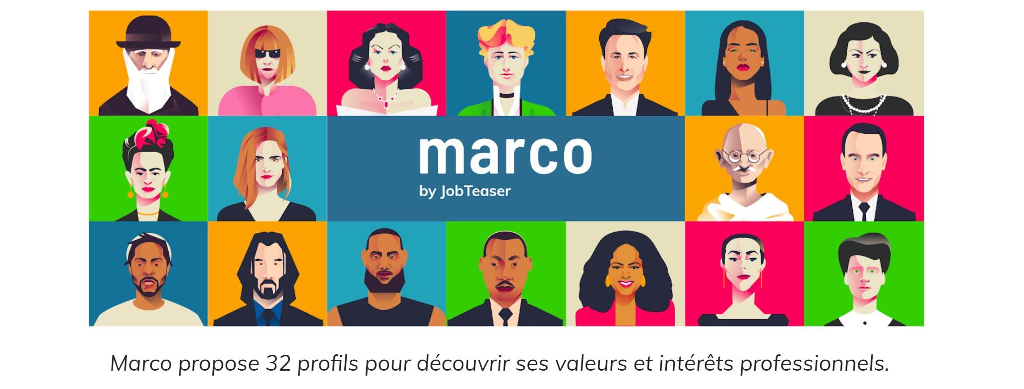 Marco propose 32 profils pour découvrir ses intérêts professionnels