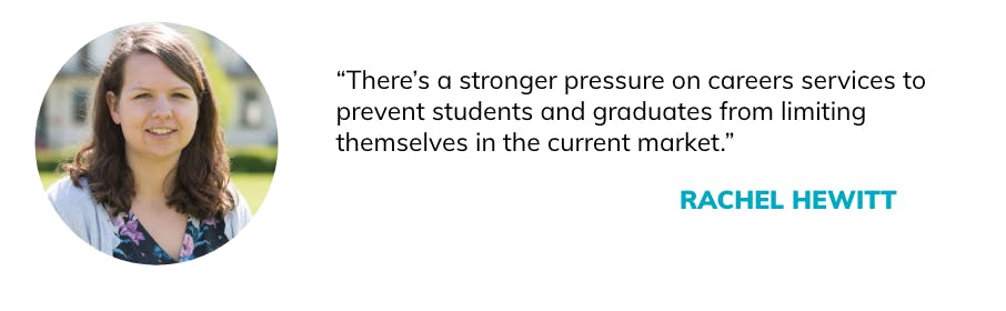There is a stronger pressure on career services to prevent students and graduates from limiting themselves in the current market.