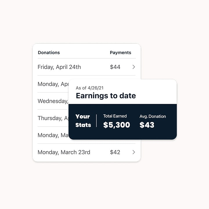 Screenshot of Parachute mobile app showing earnings to date total and average payment per donation.