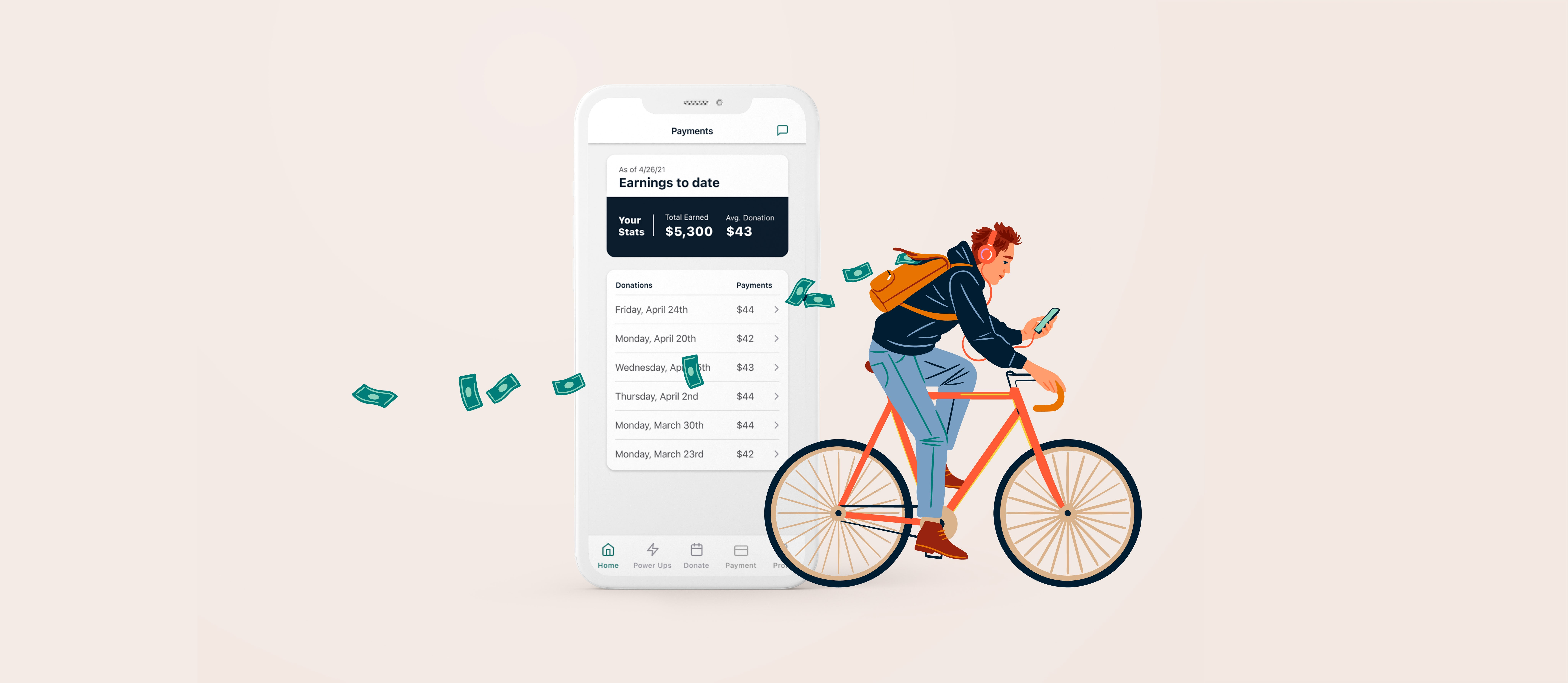 Illustration of man on a bicycle in front of a giant smartphone with dollar bills floating behind him.