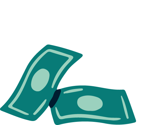 Illustration of two dollar bills