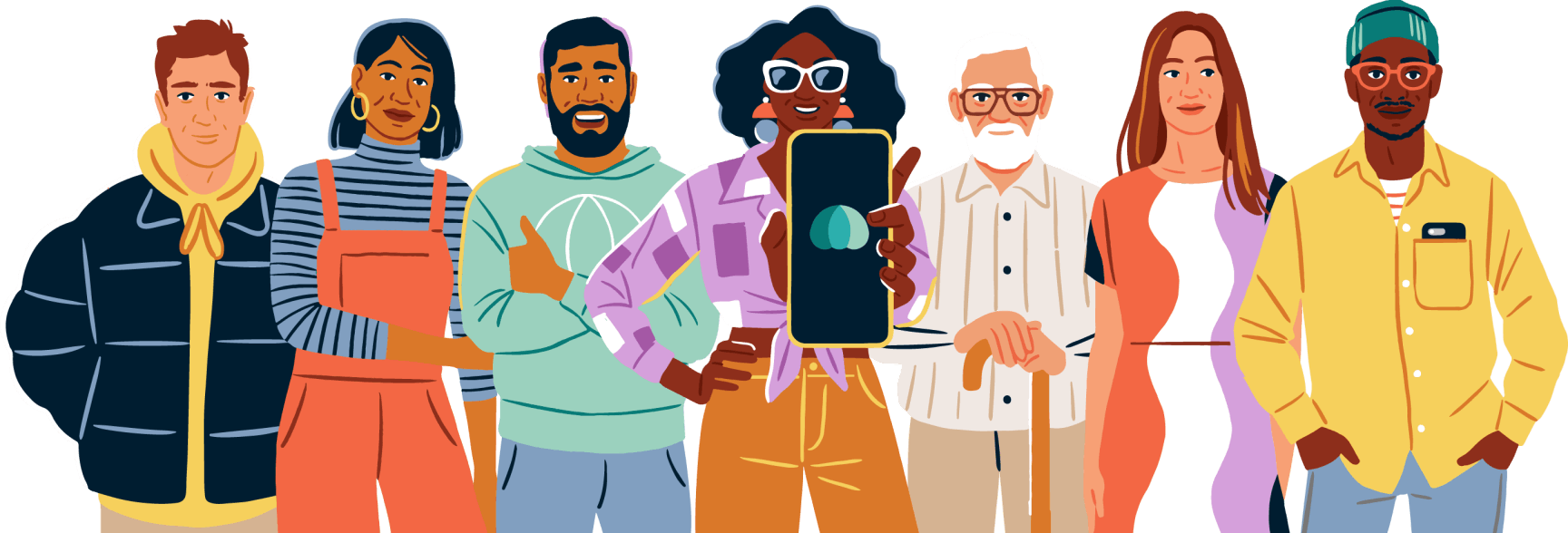 Illustration of a group of people with the woman standing center holding a phone displaying the Parachute logo.