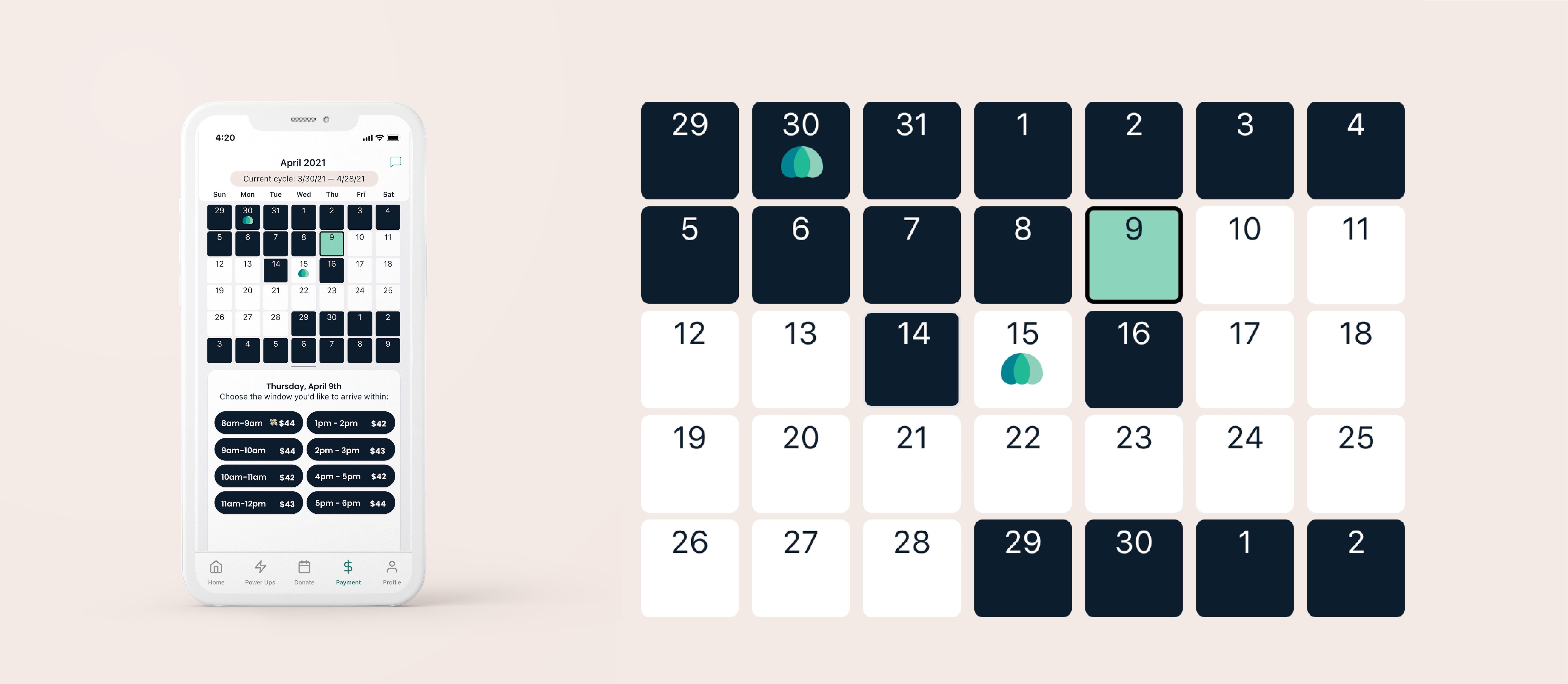An image of a smartphone showing the parachute app calendar plus a close-up of the calendar