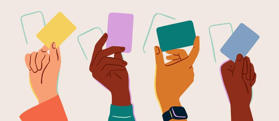 Illustration of 4 hands holding credit/debit cards.