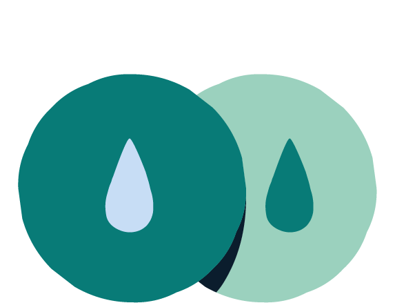 Illustration of two overlapping circles with droplets in the center of each.