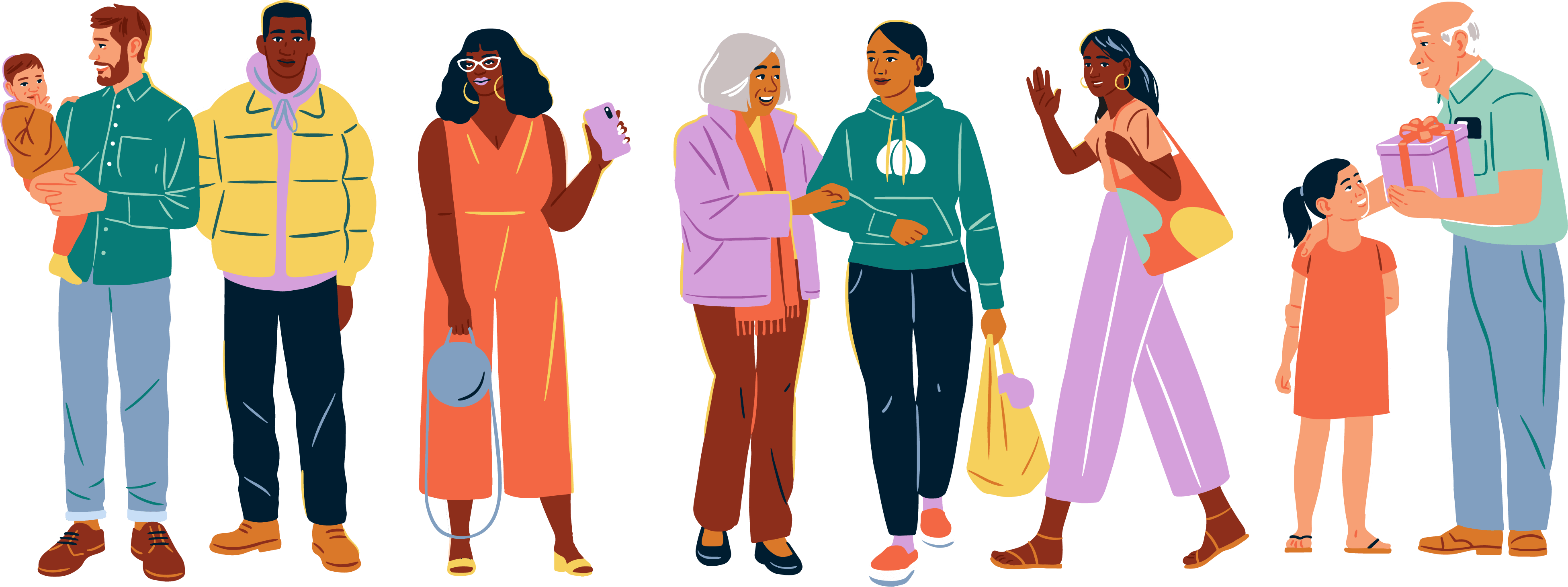 Illustration of a variety of people