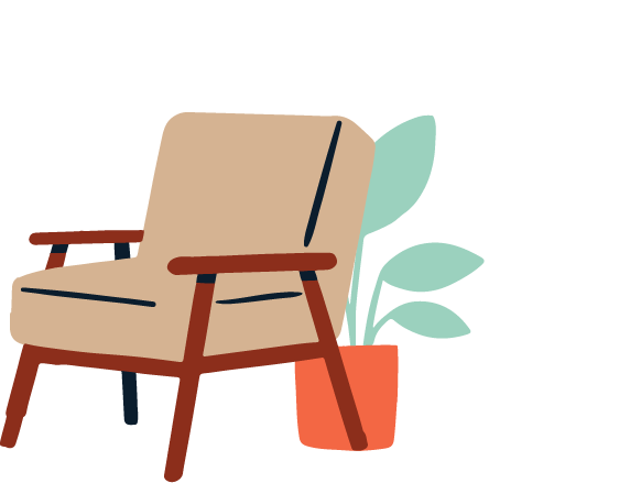 Illustration of a chair with a potted plant