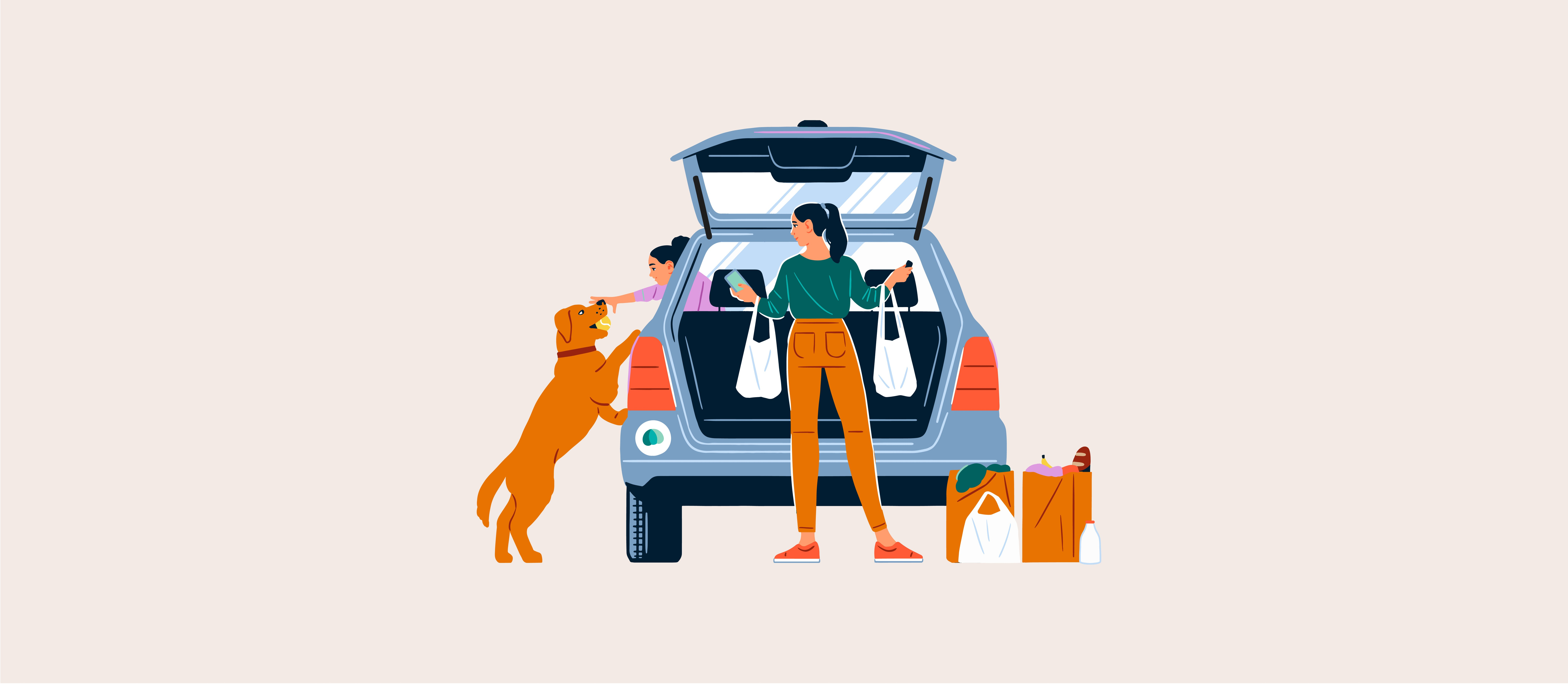 Illustration of woman unloading groceries from a car with a young girl and dog nearby.