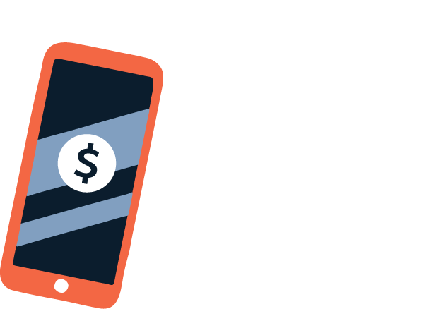 Illustration of smart phone with a dollar sign on the screen.
