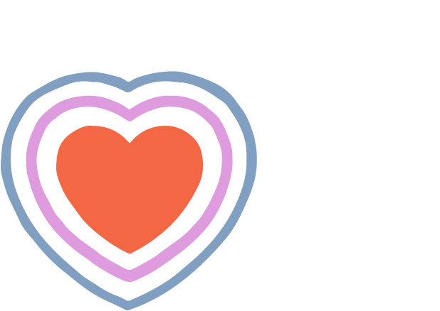 Illustration of a heart with two additional outlines.