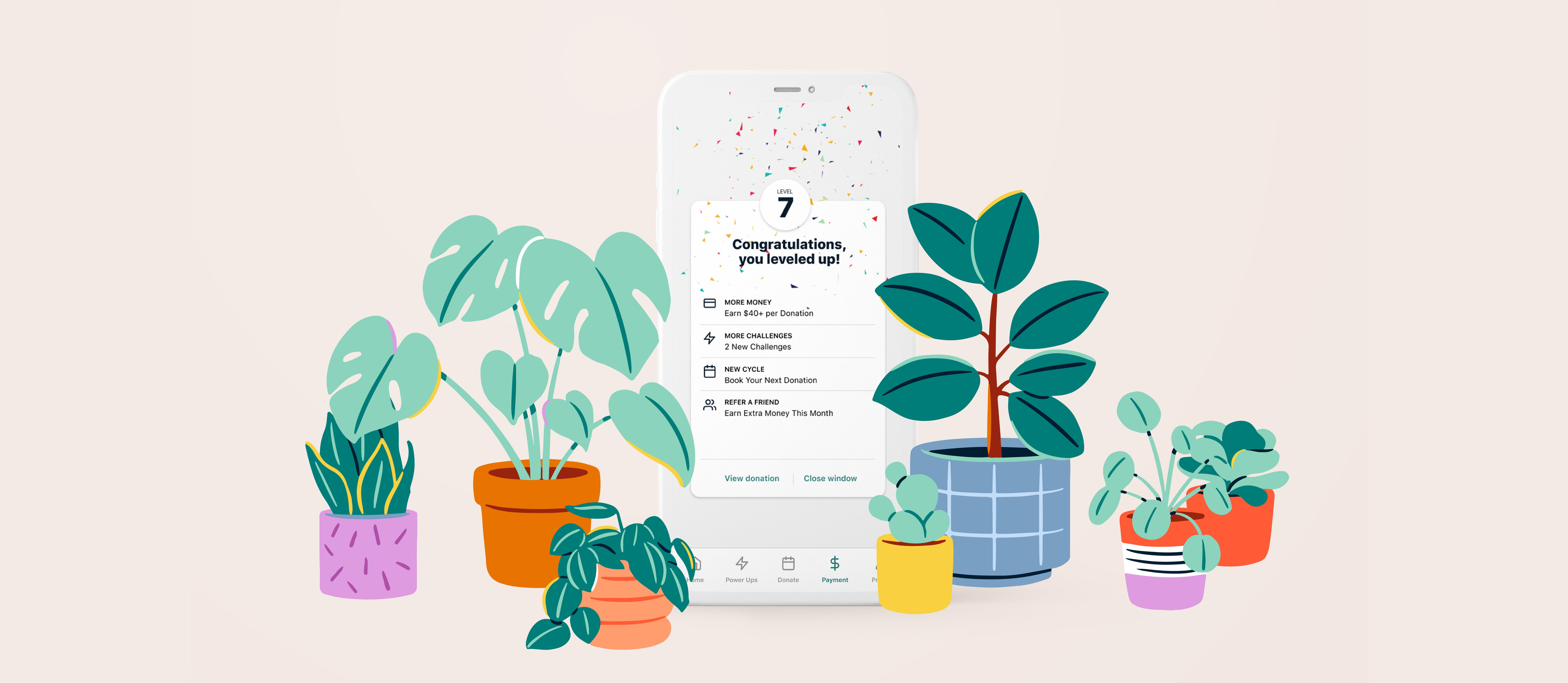 Image of smartphone showing the Parachute app surrounding by illustrations of potted plants.