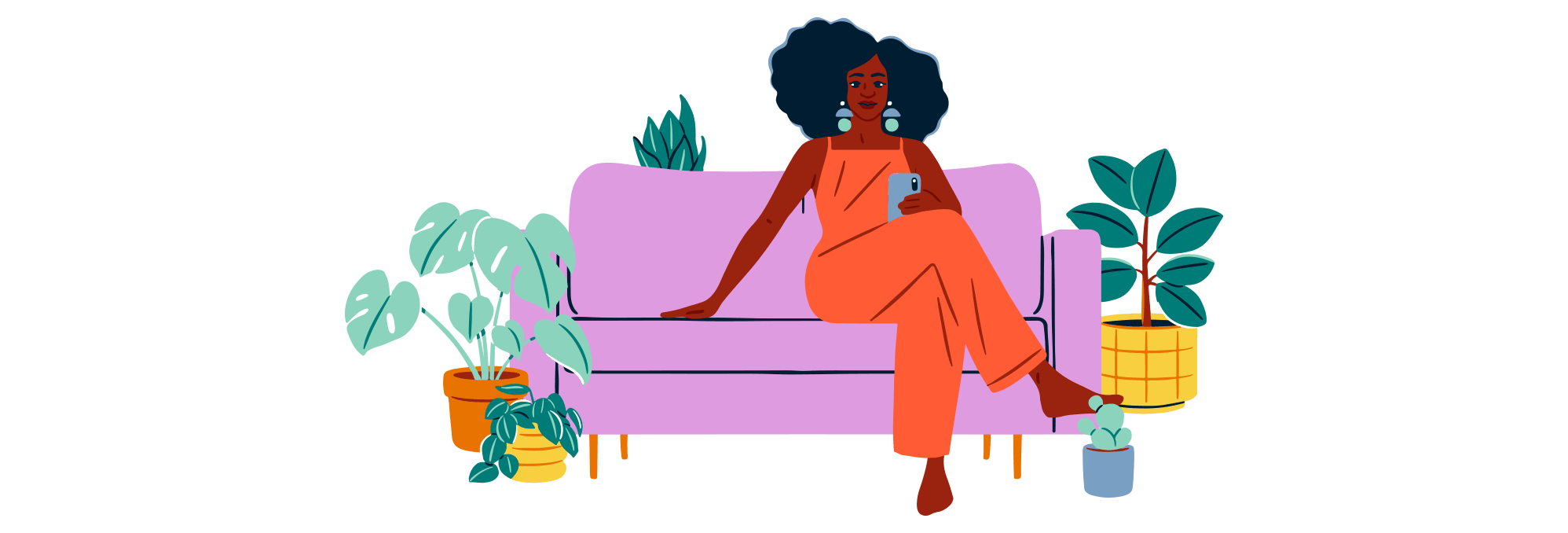 Illustration of a woman sitting on a couch checking her phone.