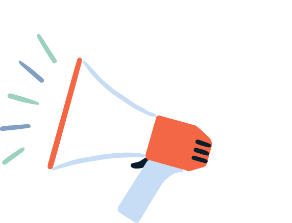 Illustration of a megaphone with noise graphics