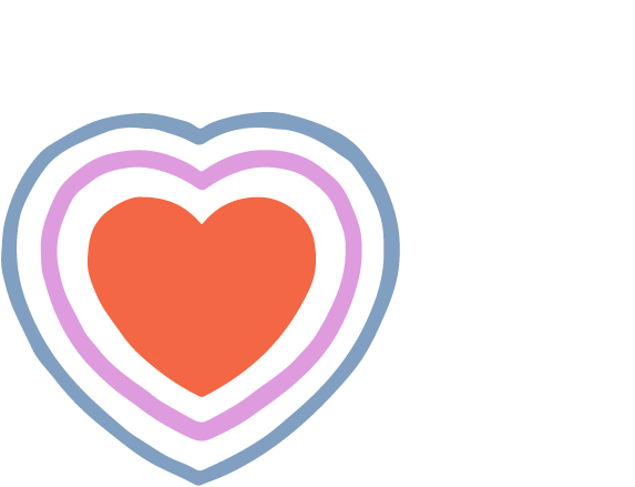 Illustration of a heart with two heart outlines