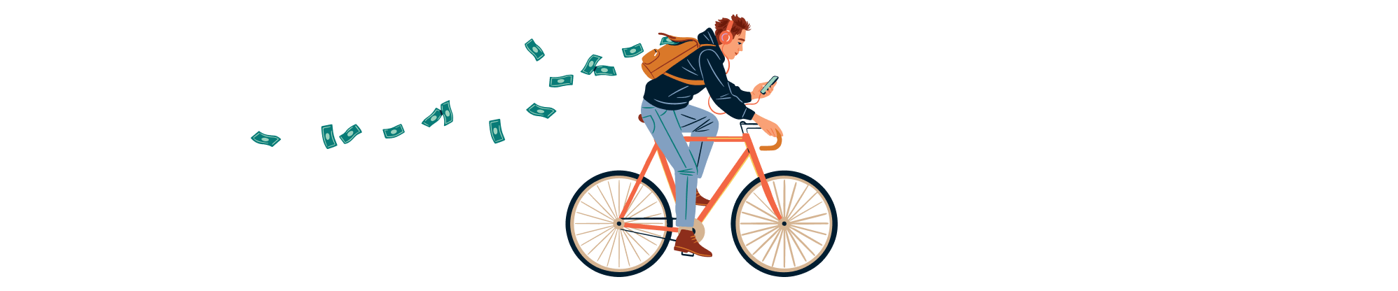 Illustration of man riding a bicycle while reading his phone while money flies out of his backpack.