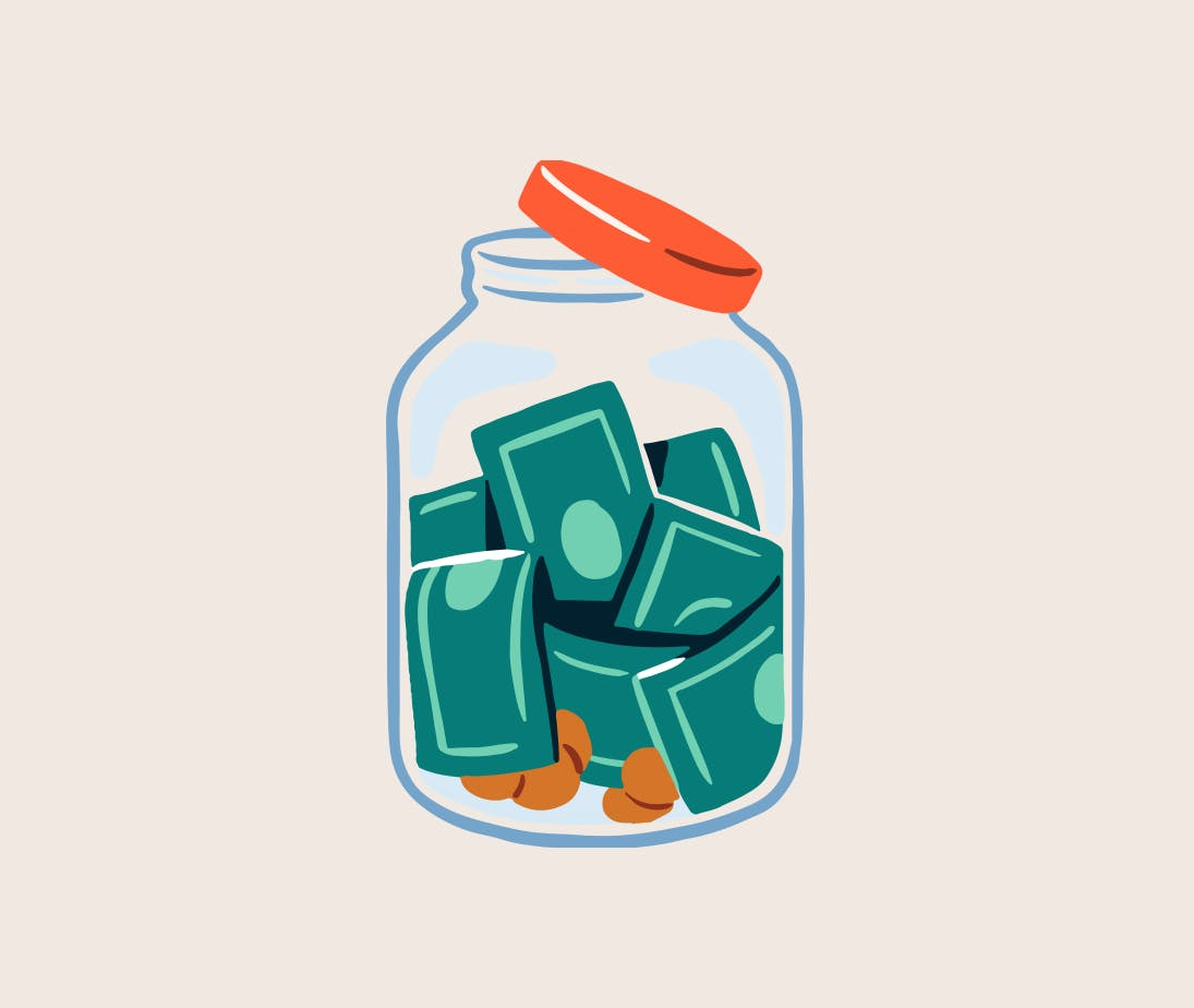 Image of a jar full of money.